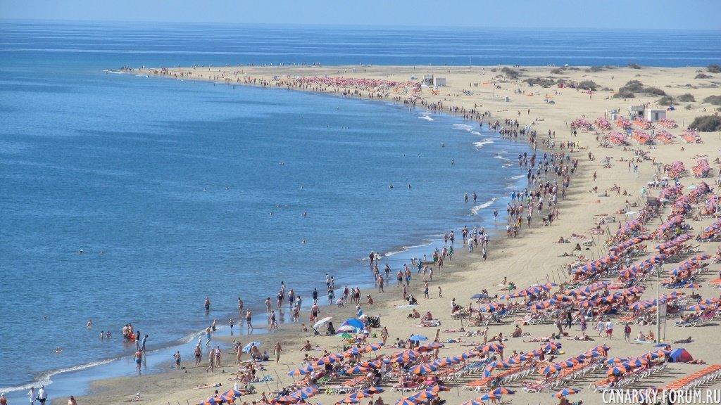 Плайа дель Инглес (один из самых популярных пляжей Гран Канарии)